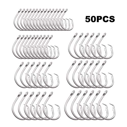 Fishing Tuna Hooks Kit – 50pcs Stainless Steel Circle Hook Big Game Saltwater Hook Extra Strong Wire Hook Fish Hooks Tackle