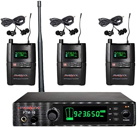 Phenyx Pro UHF Stereo Wireless in Ear Audio Monitor System Selectable Frequency 900MHz Band product image