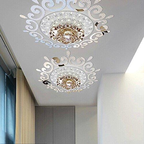 Wandaufkleber, Deckenleuchte, Kronleuchter um dekorative Spiegelrahmen, 70 x 70 cm, silberfarben