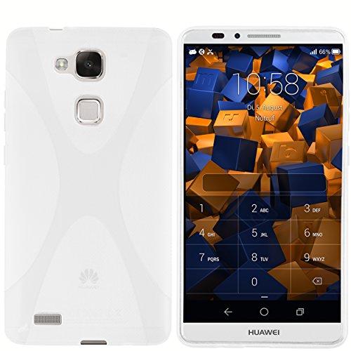 mumbi Hülle kompatibel mit Huawei Ascend Mate 7 Handy Case Handyhülle, transparent weiss