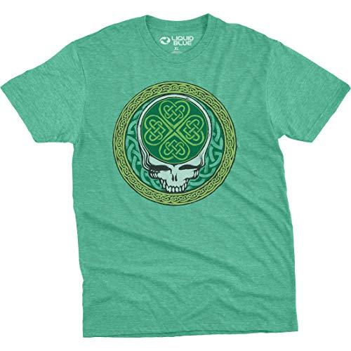 Liquid Blue unisex adult Grateful Dead Celtic Shamrock Syf Poly-cotton T-shirt T Shirt, Heather Green, X-Large US
