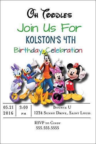 Customized - Mickey Mouse Birthday Party Invitation