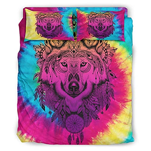 Ouniaodao Juego de 4 piezas de colcha de color rosa lobo, funda de edredón y almohadas, fundas de edredón suaves y de fácil cuidado, 228 x 264 cm