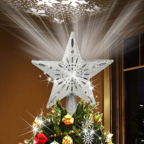 Christmas Tree Star Topper Decorations, Rotating Magic 3D White Snowflake Projector Lamp Design Light, Hollow LED Star Farmhouse Tree Topper for Xmas Tree Ornament Indoor Home Décor Gift-Silver