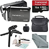 Bell & Howell DV30HD 1080p HD Video Camera Camcorder (Black) + Case, Tripod, 16GB Memory Card, Card Reader & Cleaning Accessories