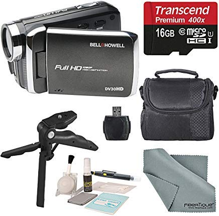 bell howell cheap camcorders Bell & Howell DV30HD 1080p HD Video Camera Camcorder (Black) + Case, Tripod, 16GB Memory Card, Card Reader & Cleaning Accessories