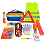 Voilamart 12 in 1 Car Emergency Tool Kits Auto Safety Kit for Europe with Warning Triangle, Visibility Vest,...