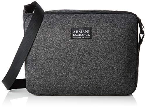 Armani Exchange Herren Zip Messanger Business Tasche, Schwarz (Dark Grey/Black), 28x8x40 cm