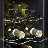Klarstein Ceres - Weinkühlschrank, Getränkekühlschrank, 16L, 6 Flaschen, 2 Einschübe, 12-18° C, verspiegelte Glastür, Innenbeleuchtung, freistehend, Türanschlag Links, 38 dB leise, schwarz - 6