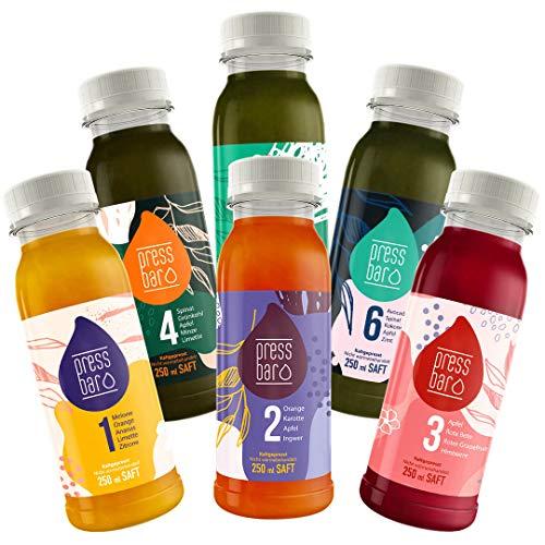 3 Tage Saftkur von Pressbar | 18 Flaschen | 6 verschiedene kaltgepresste Säfte pro Tag | hochwertige Obst & Gemüse Säfte | ideal für Deine Kur | Achtung: Kühlware, nach Erhalt sofort kühlen