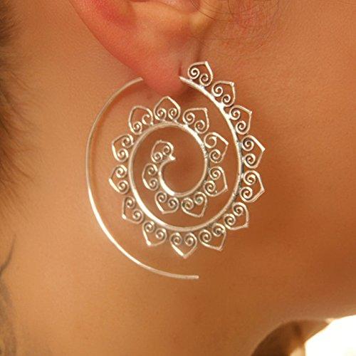 Pendientes de plata - Pendientes de plata espiral - pendientes de gitana - pendientes tribales - pendientes étnicos - pendientes indios - pendientes de declaración - pendientes grandes - Joyas de plata - joyas tribales