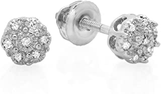 0.06 Carat (ctw) 10K Round Diamoind Ladies Cluster Flower Stud Earrings, White Gold