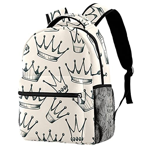 Mochila infantil para niños y niñas para la escuela, mochilas lindas para escuela primaria o jardín de infancia, mochila escolar de 40,6 cm, Corona Princesa Beige 3, 29.4x20x40cm, Mochilas Daypack