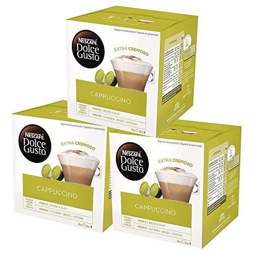 NESCAFÉ Dolce Gusto Café Cappuccino, Pack de 3 x 16 Cápsulas - Total: 48 Cápsulas de Café