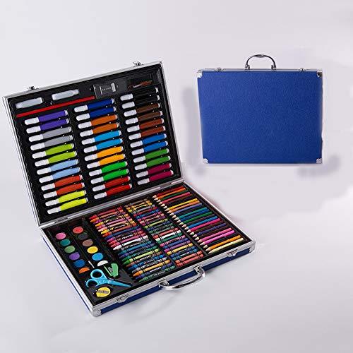 150 Stück Malerei Crayon Set für Kinder Aquarell Pen Malerei Bleistift Tragbarer Aquarell-Feder-Satz Malerei Aluminium Box Art Pigment Stationery Studenten Geschenk-Set Blue