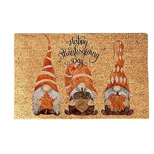 Thanksgiving Welcome Decorative Doormat Gnome Mat,Autumn Creative Pumpkin Maple Leaves Faceless Doll Letter Door Rug Non-Slip Carpet,Fall Front Door Mat for Indoor Kitchen Home Garage Entrance