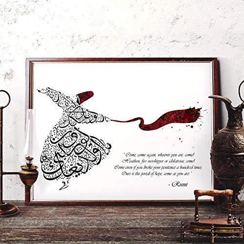 YDGG Rumi Zitat Islamische Kalligraphie Kunstdrucke Home Decor Wandkunst Leinwand Malerei Wirbelnder Derwisch Kunst Bild Dekor-60x80cmx1 STK. Kein Rahmen