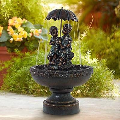 "John Timberland Boy and Girl Under Umbrella 40"" High Indoor/Outdoor Fountain"