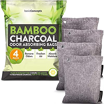 BASIC CONCEPTS Bamboo Charcoal Air Purifying Bags (4 Pack), Charcoal Bags Odor Absorber for Home and Car (Pet Friendly) - Charcoal Air Purifying Bags (4 x 200g)
