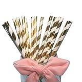 Rayas doradas Pajitas de Papel Biodegradables - Cañitas de Cartón para Fiestas - 100 Unidades