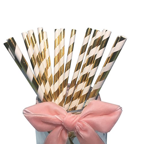 BOFA hellgold gestreifte Papierstrohhalme, 100% biologisch abbaubar, 20 cm lang, geeignet für Partys, Hochzeiten und verschiedene Anlässe, mit einer Schachtel mit 100 Stück