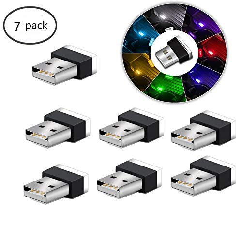 USB LED Auto Innenraum Umgebungsatmosphäre Lichter, 7pcs Plug-in 5V Universal Mini LED USB-Leuchten für Auto Innenraum Kofferraum Umgebungsatmosphäre, Laptops, USB-Buchsen, Nachtlichter. (7 Farben)