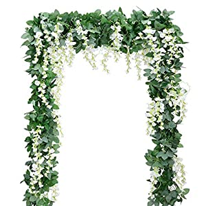 Artificial Flowers Silk Wisteria Vine 5pcs 6.6ft/Piece Ivy Leaves Garland Wisteria Artificial Plants Greenery Fake Hanging Vines Green Leaf Garland for Wedding Kitchen Home Party Decor