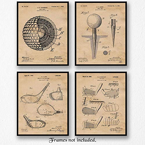 Vintage Golf Patent Poster Prints, Set of 4 (8x10) Unframed Photos, Great Wall Art Decor Gifts Under 20 for Home, Office, Shop, Garage, Man Cave, Studio, Student, Teacher, Coach, Sports & PGA Fan