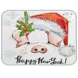 QMIN - Alfombrilla de secado de platos, acuarela, Navidad, cerdo, animales, absorbente, reversible, para platos, platos, para cocina, encimera, hogar, cafetera, fregadero, 45,7 x 61 cm