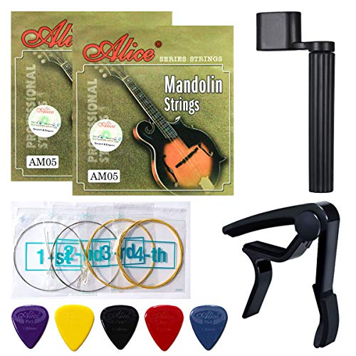 Mandolin Strings, Yoklili 2 Sets of Silver-Plated Copper Alloy Mandalin Strings, Medium, 11-40, Bonus 5 Nylon Standard Heavy Picks, String Winder and Capo included