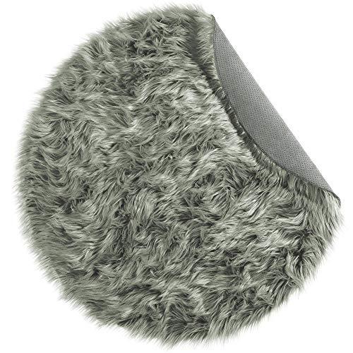 CelinaTex Plush loper rond 90 cm grijs hoogpolige imitatiebont vloerkleed kunstbont langhaar bedmat 5001583