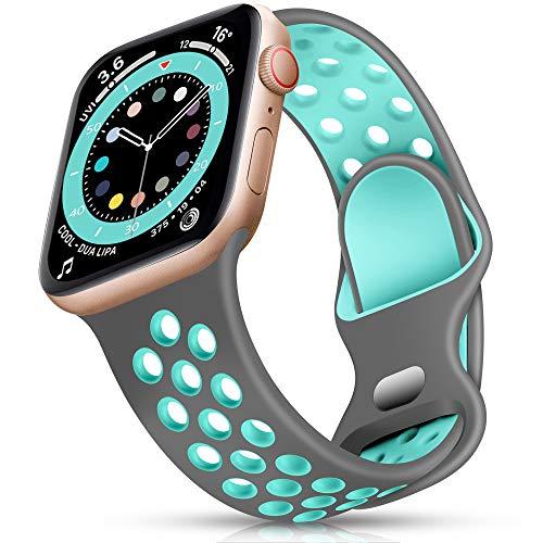 Epova Sport Armband Kompatibel mit Apple Watch Armband 42mm 44mm, Atmungsaktives Weiches Silikon Ersatz Armband Kompatibel mit iWatch SE Series 6 5 4 3 2 1, Grau/Blaugrün, L