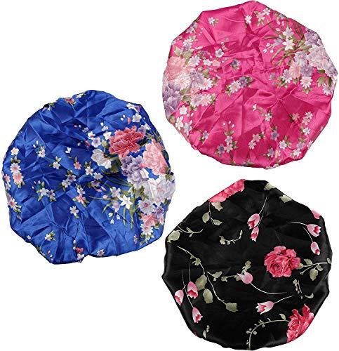 BESTZY 3 Stück Weiche Satin Schlafmütze, Satin Mütze Schlafmütze, Wide Band Salon Bonnet für Mädchen Nachtmütze Kopfbedeckung Set für Haarausfall, Haarpflege (Schwarz, Blau und Rose Rot)