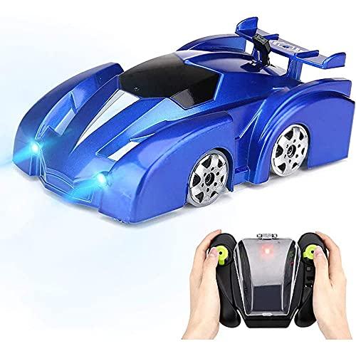 Yuxunqin Mini automóvil de Control Remoto, Juguete para niños con Luces LED, Escalada en Pared RC Coche 360 ° Rotación Dual Modo Doble Coches, Cable USB Boys, Rojo Azul (Color : Blue)