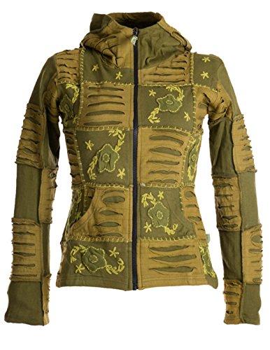 Vishes – Alternative Bekleidung – Mit Blumen bestickte Patchwork Jacke aus Baumwolle, mit Zipfelkapuze olivegrün 42