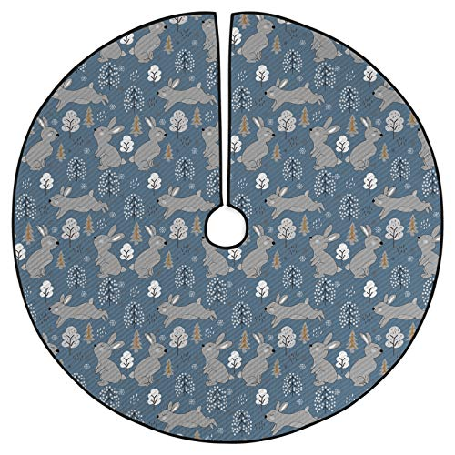 ABAKUHAUS Bunny Decorative Quilted Tree Skirt, Continuous Pattern Trees and Rabbits Snowflakes, Printed Ornament Holiday Party Decoration, 53.5', Blue Grey Pale Taupe