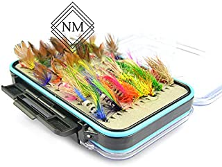 Nomad Market Fly Fishing Flies Kit - 64pcs Handmade Fly Fishing Lures - Dry/Wet Flies with Waterproof Fly Box. Dry/Wet Flies, Nymphs, Streamers, Popper