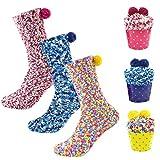 Osugin Cupcake Kuschelsocken, Damen Mädchen Flauschige Socken, Weihnachts Valentinstag Geburtsta Gsgeschenk mit Geschenkbox (3 Paar)