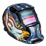 Cappuccio oscurante automatico per casco da saldatura ad energia solare con gamma di tonalità regolabile 4/9-13 per maschera saldatore Mig Tig Arc (Aquila Nera)