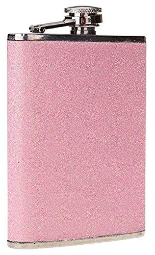 Flachmann aus Edelstahl, 207 ml Füllvolumen, mit glitzernder Hülle. rose