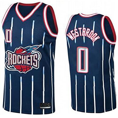 QJJ Camiseta De Baloncesto para Hombre - Houston Rockets 0# Russell Westbrook Swingman Jersey, Chaleco Bordado De Verano para Adultos - Azul Retro Clásico L