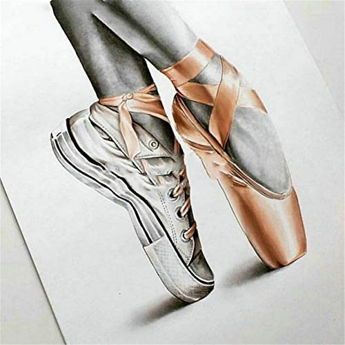 DIY 5D Diamond Painting by Number Kits for Adults Ballet Shoes Full Diamond Painting Crystal Rhinestone Diamond Embroidery Cross Stitch Diamond Arts Crafts for Home Wall Decor Gift 25x30cm/10x12inch