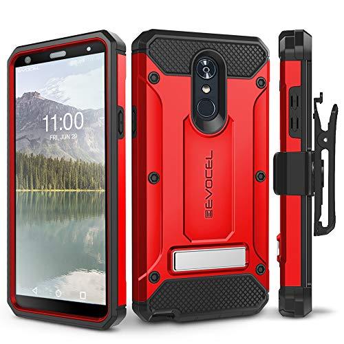 LG Stylo 4 Case, Evocel [Explorer Series Pro] Premium Full Body Case with Glass Screen Protector, Belt Clip Holster, Metal Kickstand for LG G Stylo 4 (2018), Red (EVO-LGSTYLO4-CC03)