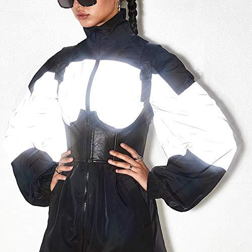 Yzibei Reflecterende windjack voor dames, super licht en zichtbaar, voor wandelen, hardlopen, veiligheidsjack, vrouwen, reflecterende outdoor-sportkleding