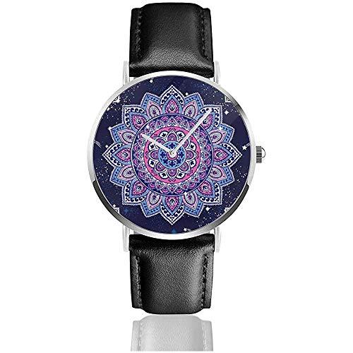 Indiaas bloemenpaisley-decoratiepatroon. etnische mandala handdoek roestvrij staal lederen band horloges polshorloges