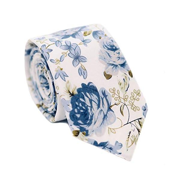 JESLANG Men's Cotton Printed Floral Tie 2.56″ Skinny Narrow Necktie Various Designs