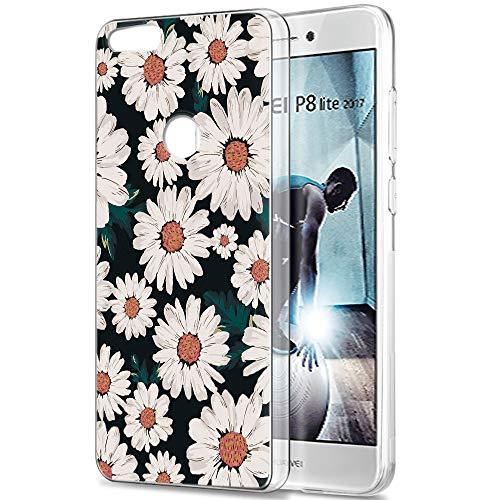 Pnakqil Funda Huawei P8 Lite 2017, Silicona Transparente con Dibujos Diseño Slim Gel TPU Antigolpes Ultrafina de Protector Piel Case Cover Cárcasa Fundas para Movil Huawei P8Lite, Pequeña Margarita