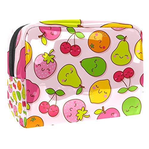 Bolso Cosmético Cereza de limón Pera Bolso de Maquillaje Bolsa de Almacenamiento portátil Estuche de Maquillaje con asa Makeup Toiletry Bag 18.5x7.5x13cm