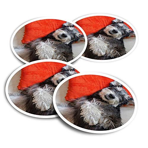 Pegatinas de vinilo (juego de 2) 10 cm – Miniatura Schnauzer Puppy Dog Divertido Calcomanías para ordenadores portátiles, tabletas, equipaje, reserva de chatarra, frigoríficos #21887