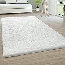 Alfombra Salón Pelo Largo Piel Sintética Shaggy Mullida Y Suave En Monocolor, tamaño:200x290 cm, Color:Blanco